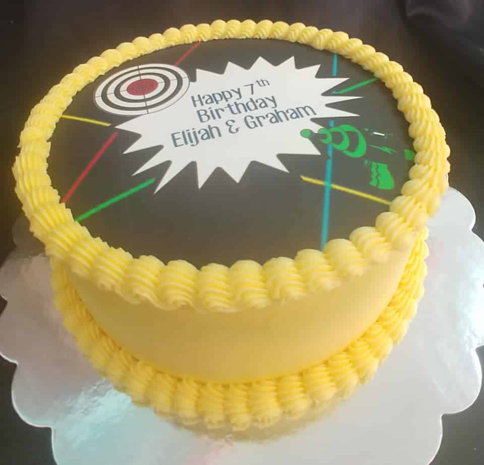 Magnificent Cake For A Party At Our Local Bowling Alley Laser Tag Fun Center Funny Birthday Cards Online Inifofree Goldxyz