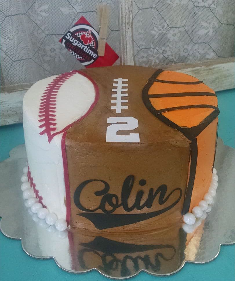 Pleasing Sports Ball Themed Cake Sugartime Confections Funny Birthday Cards Online Inifodamsfinfo